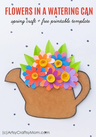 Few things describe spring as perfectly as this Spring Flowers in a Watering Can Paper Craft! This quilled craft is perfect for a DIY card or as wall decor.
