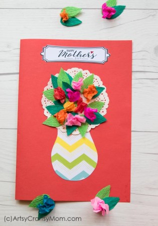 Crumpled Paper Flower Mother's Day Card