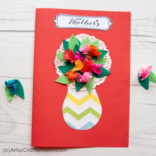 Use craft paper in different colors to make this crumpled Paper Flower Mother's Day Card for Mom! Perfect project for preschoolers and kindergarteners!