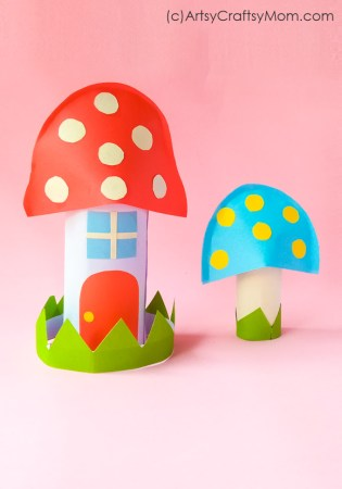 Paper Mushroom House Craft