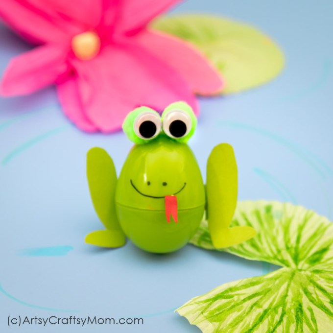 Bring together different craft supplies to make this mixed-media Recycled Plastic Egg Frog Craft! Perfect for learning about amphibians and aquatic animals.