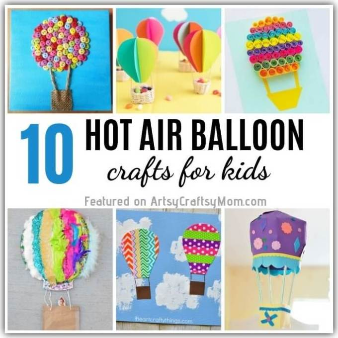 Get ready to soar into the big blue sky with these cute Hot Air Balloon Crafts for Kids! Make hot air balloons out of paper, buttons, Washi tape and more!