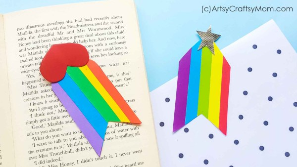Books add color to a drab world, and a Rainbow Heart Bookmark adds color to your daily reading time! Make more of these to give out to friends & teachers!
