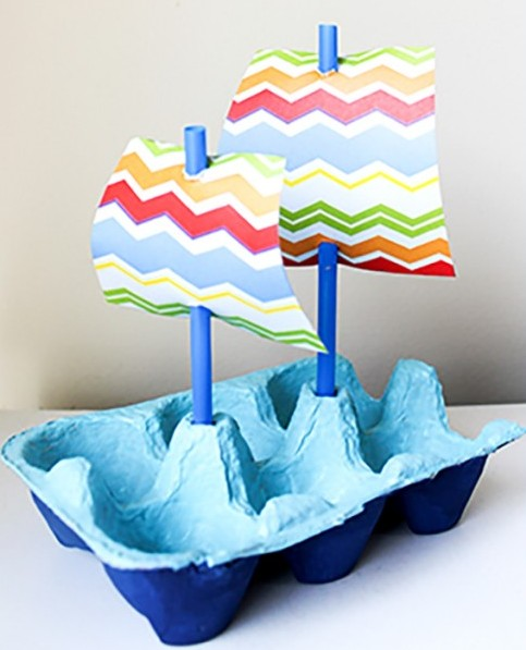 Recycle your emptyegg cartons to make egg carton Boat - ArtsyCraftsyMom