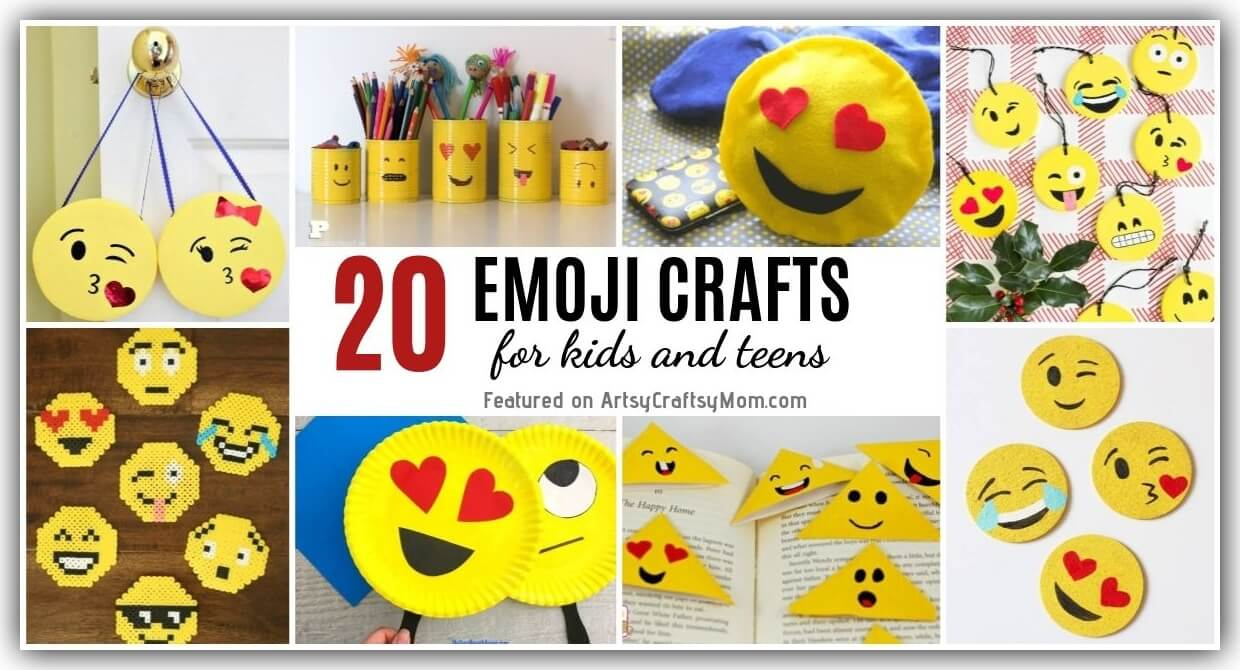 (insert smiley face, rainbow and pink heart here.) 20 Emoji Crafts For Kids And Teens World Emoji Day Crafts
