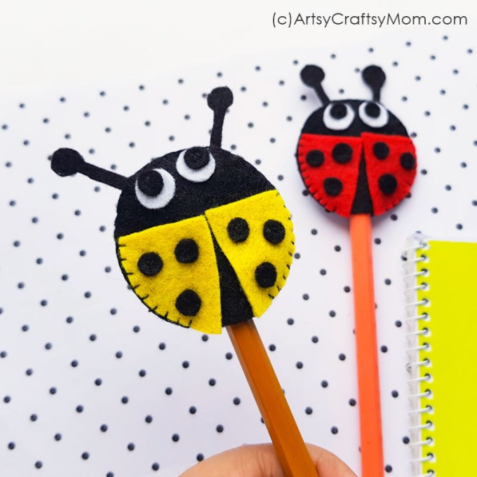 Need a spring-theme handmade gift for a friend? This DIY Felt Ladybug Pencil Topper is the perfect choice! Make matching ones to share with your best buddy!
