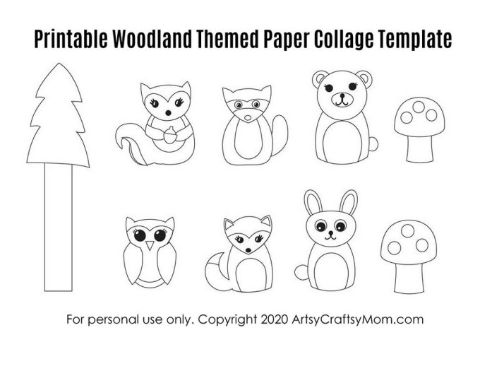 Download and assemble our Printable Woodland Themed Paper Collage and get ready to have some fun with some cute and furry woodland friends!