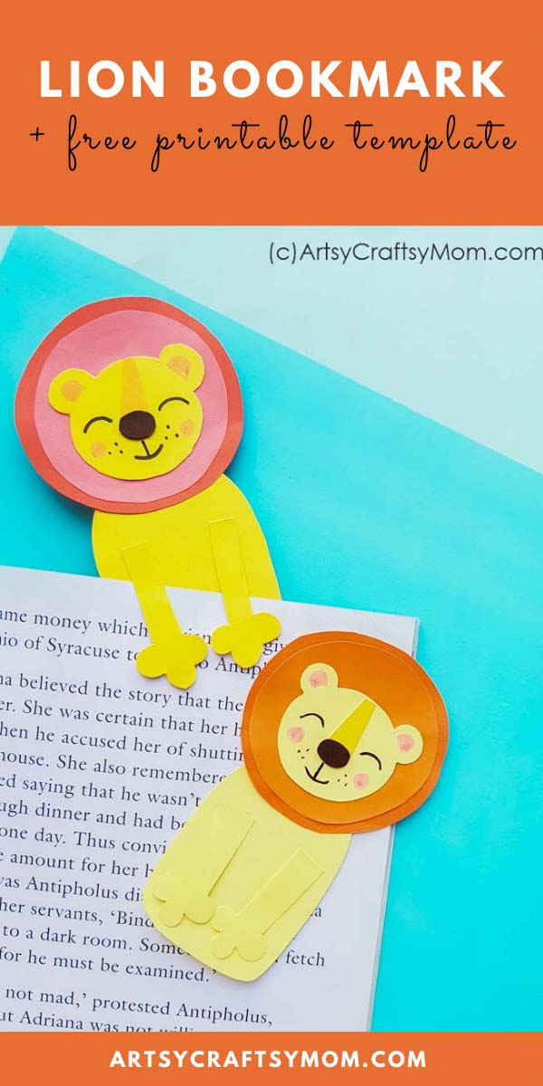 10th August is World Lion Day, which makes it the perfect time to make this Lion Bookmark Craft! Just download the free printable template, print and go!