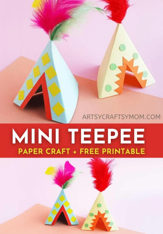 Make and decorate a three-dimensional paper teepee Craft while learning about Native American culture. Printable teepee templates are available for easy crafting.