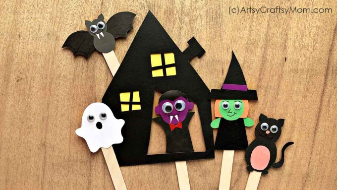 DIY Halloween Character Bookmarks. A frightfully fun fall craft! Includes templates to make green witch, bat, haunted house, Dracula, black cat & ghost bookmarks.