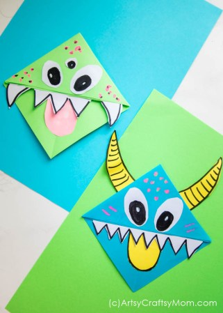 This super cute Monster corner bookmark craft is fun and a great way to get the kids interested in books and reading. It's also a Perfect Non-Candy Alternative to Trick or Treating this Halloween