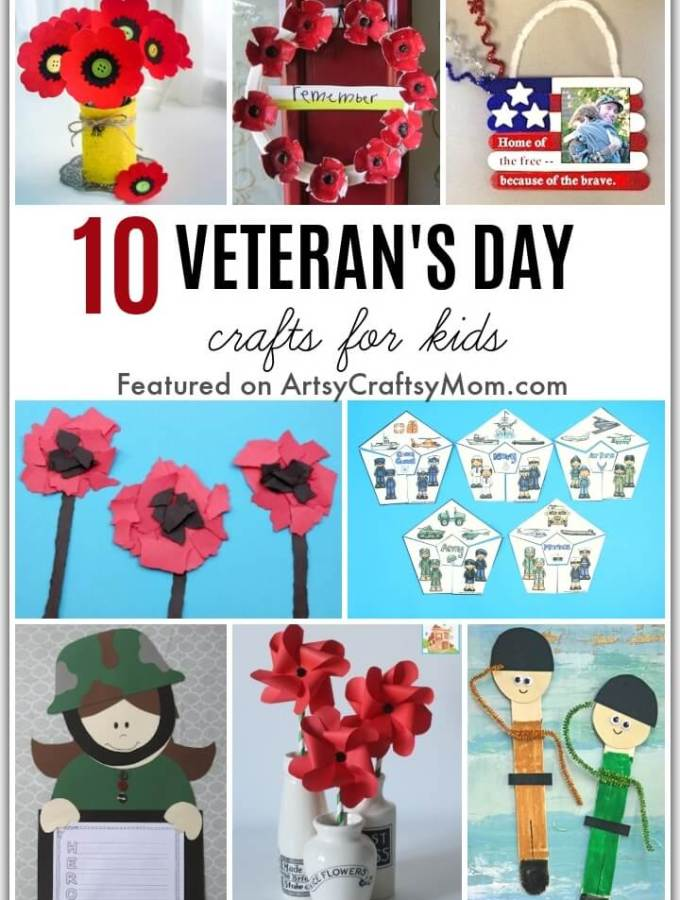 Honor military veterans and learn about the importance of Veteran's Day on 11th November with these Veteran's Day Crafts for Kids.