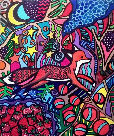 Fox in the Strawberry Fields by Ally Burguieres