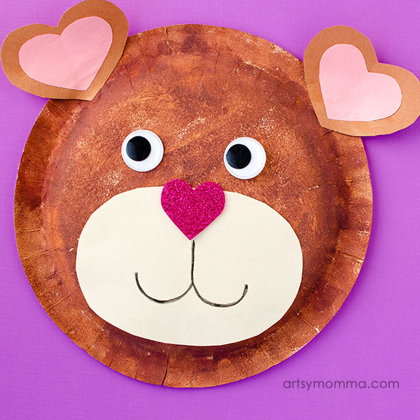 Paper Plate Teddy Bear Craft With Heart Shapes For