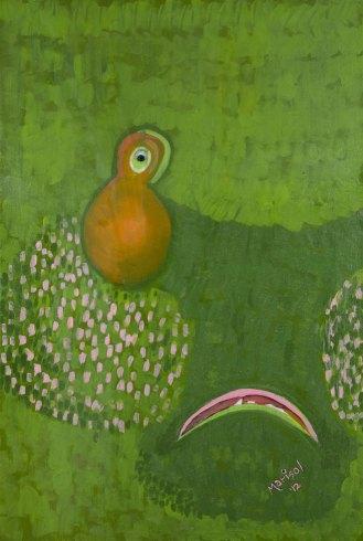 """Green,"" acrylics, glitter & resin on canvas, 24""x36"", 2012"