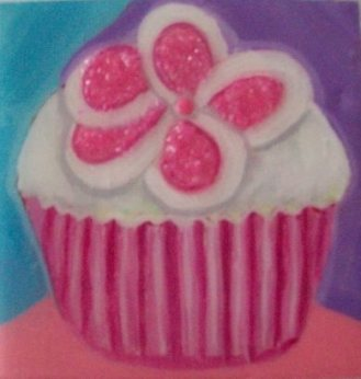 Series of Cupcakes, acrylic on wood and candies