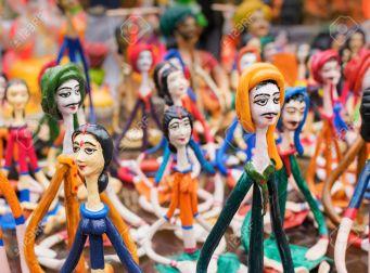 KOLKATA, WEST BENGAL , INDIA - DECEMBER 12TH 2014 : Terracotta dolls, artworks of handicraft, on display during Handicraft Fair in Kolkata - the biggest handicrafts fair in Asia.