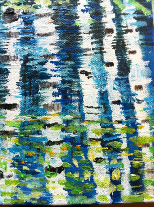 Close up of reflection of birch tree painting