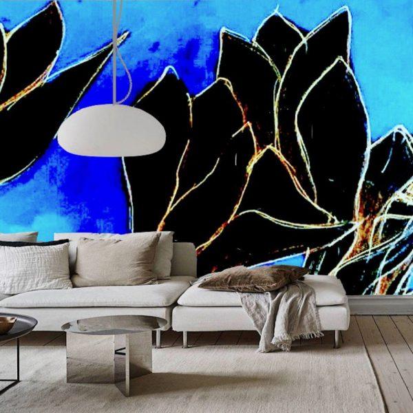 ambientazione ciclamini neri su sfondo blu