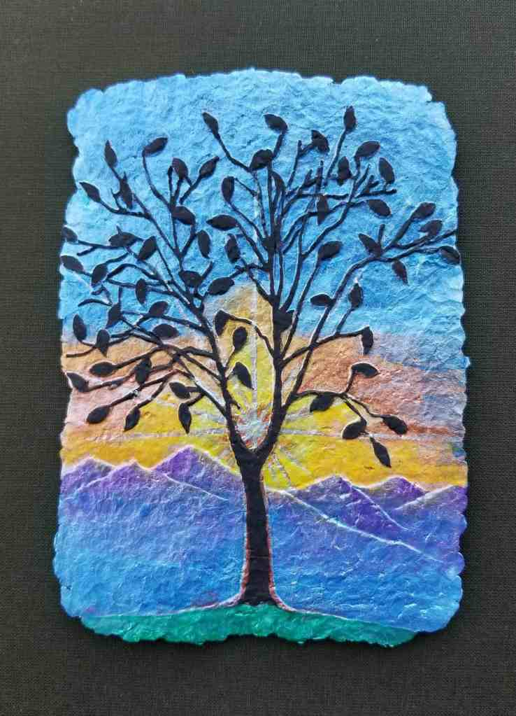 Flame Bilyue Sculpted Paper Painting in C'ville Arts Show: Lighting the Darkness-Tree Silhouette on Blue Ridge Mountains