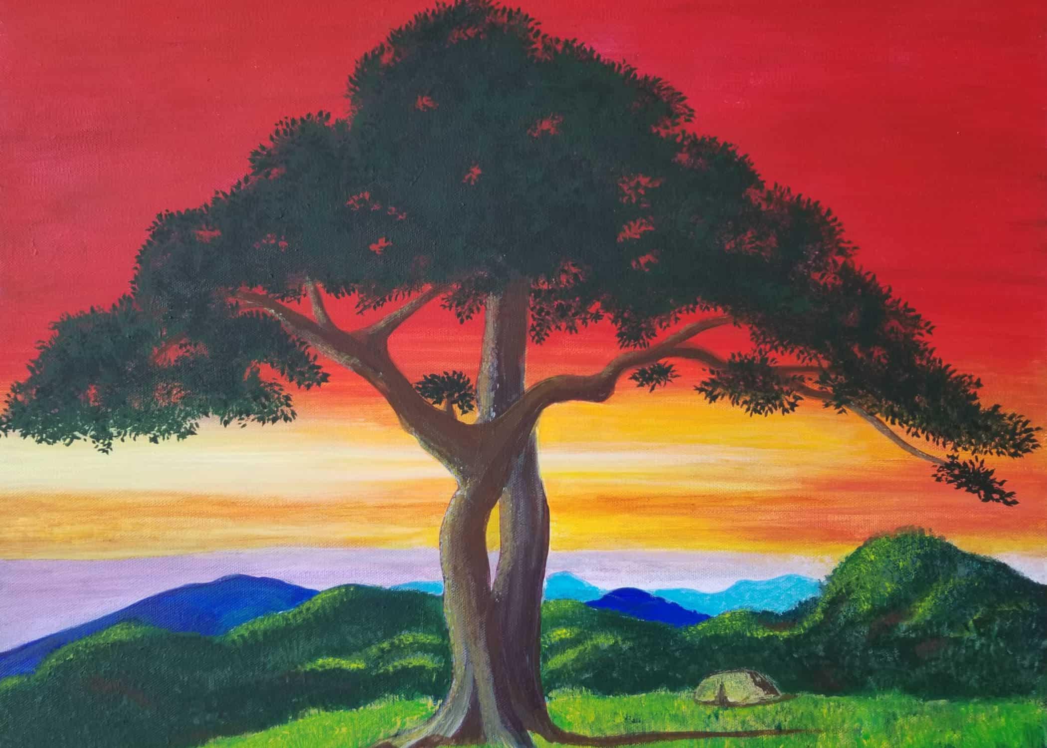 White oak against sunrise sky on Skyline Drive, Virginia