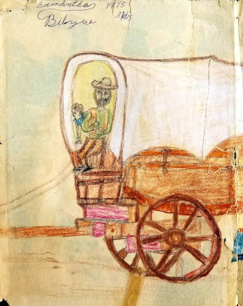 Flame Bilyue's early drawing of a covered wagon (Age 7), already showing a strong sense of color and composition