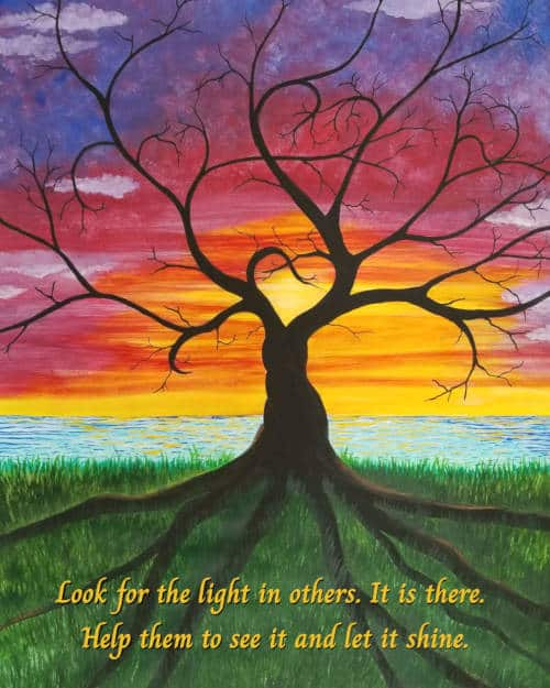Popular print as free gift - Tree of Hearts in front of a rainbow sky