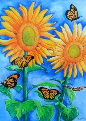 Flutterby Flowers - Monarch butterflies on sunflowers at Summer Solstice