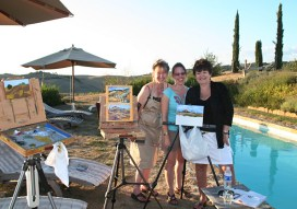 Painting poolside at the villa