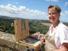 Painting the church in Montepulciano