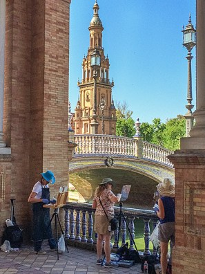 Painting at the Plaza de Espana in Seville