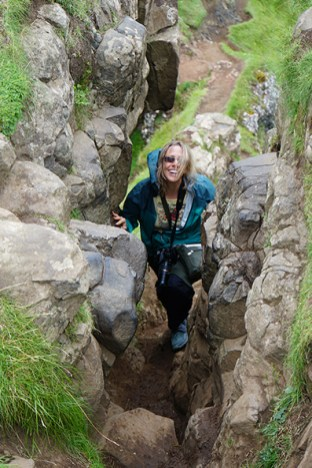 Climbing to top at the Fairy Glen.