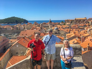Atop the wall surrounding Dubrovnik.