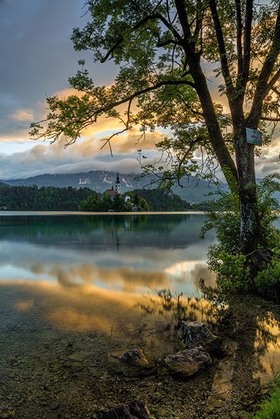 Sunrise on Lake Bled.