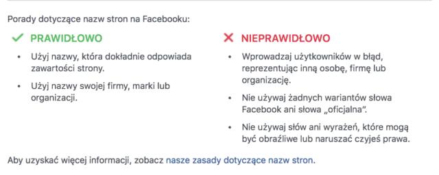 wytyczne facebooka dla nazw stron  Jak zmienić nazwę fanpage? facebook wytyczne fanpage 1024x409