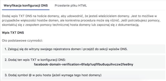 instrukcja weryfikacji domeny  Jak zweryfikować domenę na Facebooku w Menadżerze Firmy instrukcja wdrozenia weryfikacji domeny 1024x500