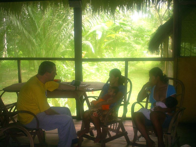 Marco Schneider at our lodge, providing medical consultation to children of the town