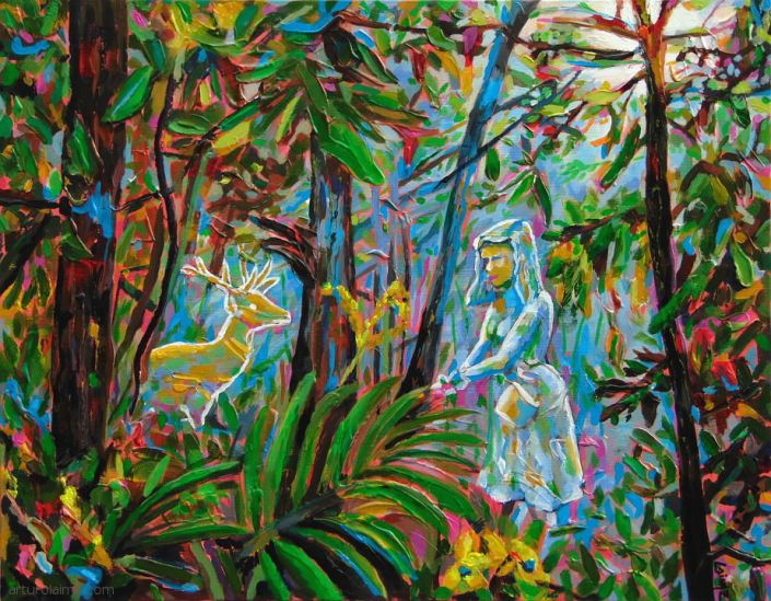 Encounter in the forest painting