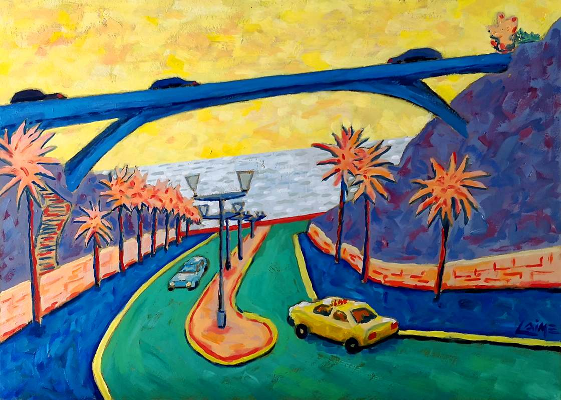 Painting of bajada Balta in Miraflores, in yellow, pink and blue
