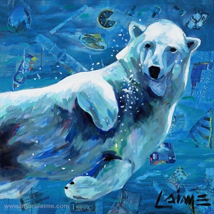 Polar bear diving painting
