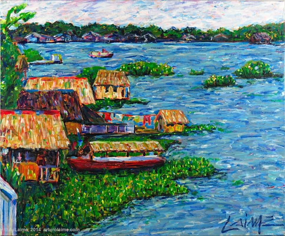 Floating houses on amazon river