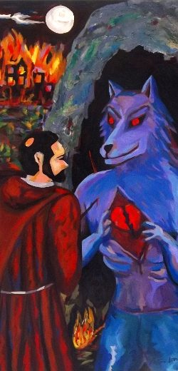 Saint Francis and the wolf detail