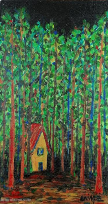 House in the Forest painting 720