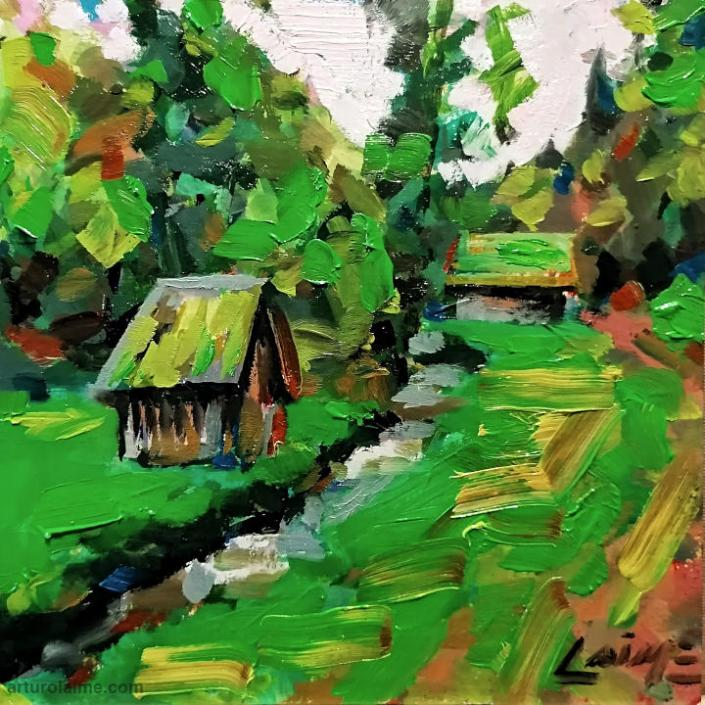 cabins in Reichental painting