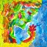 Frau mit Blume Kunst auf Papier