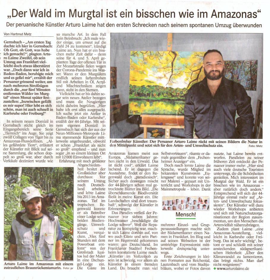 Arturo Laime im Badisches Tagblatt 11042020