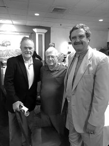Former Buffalo News Reporter Tom Buckham (l), retired Buffalo News political writer George Borrelli (c), and George's successor as political writer, Bob MCCarthy, pose for the camera at the Tom Borrelli Memorial Awards dinner. It was a great time to share memories and honor the memory of Tom Borrelli who left his mark on the lacrosse world in WNY.