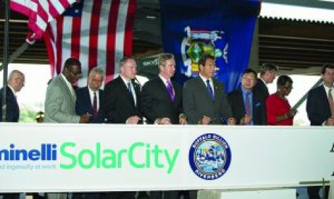 "Governor Cuomo celebrated the ""topping off"" of the SolarCity GigaFactory in Buffalo, NY, August 4, 2015. Photo: Office of the Gov."