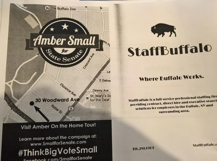 A Parkside Community Association printed program that included an advertisement for Executive Director Amber Small's State Senate campaign. Small has said that the federal Hatch Act does not apply to her organization.