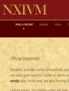 Official Statement of NXIVM on their website